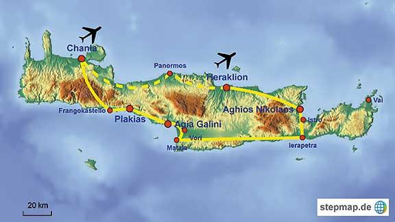 Kreta Karte Mit Sehenswürdigkeiten.Lernen Sie Kreta In Griechenland Auf Unserer Individuellen