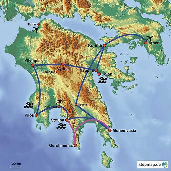 Peloponnes Karte.Individuelle Mietwagenrundreisen Durch Die Halbinsel Peloponnes In