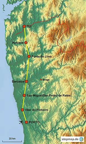 tui karte Der Jakobsweg in Portugal. Individuell von Porto bis Tui pilgern tui karte